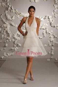 Glamorous A Line Halter Knee Length Organza Wedding Dresses $ 115.82 GPPE315FYB - GorgProm.com for mobile