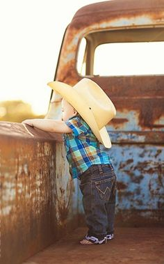 Minus the cowboy hat, I really really wish I had a picture of Blake in a rustic old truck. He loves cars!