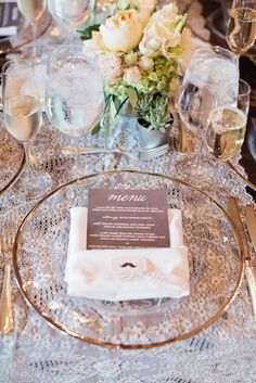 10 Ideas for Charger Plates at Your Wedding.  ShaFox.com loves this timelessly elegant glass, gold rimmed charger that allows a stunning linen to show through.