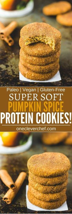 These paleo pumpkin spice protein cookies are soft chewy and so tasty. Looking for the perfect fall treat? Protein-packed easy to make and super healthy these delicious snickerdoodle protein cookies are also paleo vegan gluten-fre Paleo Dessert, Low Carb Dessert, Healthy Desserts, Dessert Recipes, Healthy Lunches, Protein Snacks, Protein Muffins, Vegan Protein Cookies, Protein Bars