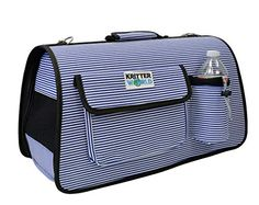 KritterWorld Portable Softsided Pet Travel Carrier House Kennel for Small Medium Puppy Dog Cat Tote Crates Shoulder Bag with Storage Pockets Blue Stripe *** You can get more details by clicking on the image.