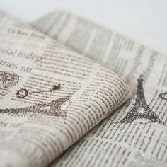 Korea Linen Fabric Vintage Textile Quilt Black Newspapers Upholstery Home Decor | eBay