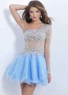 Long Sleeve Crystals Sheer One Shoulder Blue Party Dress