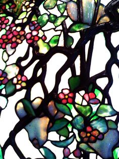 Louis Comfort Tiffany Detail of Apple Blossom and Magnolia Bloom by Remedy Tiffany Stained Glass, Faux Stained Glass, Stained Glass Lamps, Tiffany Glass, Stained Glass Windows, Mosaic Art, Mosaic Glass, Etched Glass Windows, Louis Comfort Tiffany