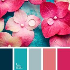 color aguamarina, color del agua, color flor de hortensia, esquema de colores para interiores, esquema de colores para un piso, guinda clara, matices de color celeste, selección de colores, tonos rosados y celestes, turquesa, turquesa vivo.