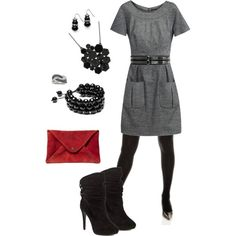cute dress for work  minus the high heel boots. Work wardrobe  | Big Fashion Show dresses for work