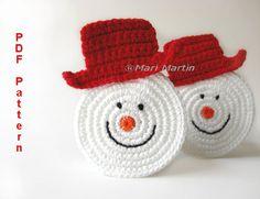 crochet snowman wall decor | Christmas Coasters Snowman Pattern Home Decoration Decor Nursery ...