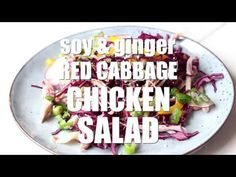 Red Cabbage Salad with Shredded Chicken and a soy and ginger dressing! A simple and healthy meal, perfect for a weeknight dinner!