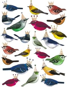 free Printable Birds with Crowns sheet - <3
