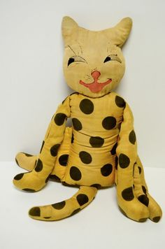 Vintage Antique Plush Cat Toy Figure Hand Made Folk Art Crafts Stuffed