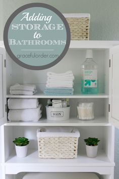 Adding Storage to Small Bathrooms!  Great ideas! - Graceful Order