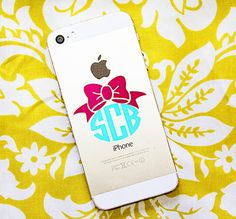 Dress your phone up with this adorable bow monogram decal. $4
