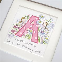 Items similar to Flower girl Name Initial - watercolour painting Birthday Christening flowergirl on Etsy Baby Room Paintings, Name Paintings, Baby Wall Art, Nursery Wall Art, Unique Christening Gifts, Box Frame Art, Initial Art, Watercolor Christmas Cards, Diy Baby Gifts