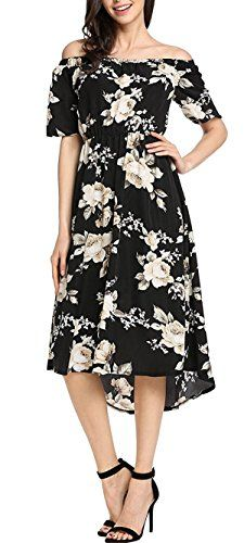 1edeadafd3d Kancystore Womens Off Shoulder Bohemia Floral Print A line Beach Dress Plus  Size Black XL    Click for Special Deals  SkaterDress