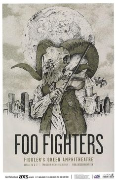 Concert poster for Foo FIghters at Fiddler's Green Amphitheater in Denver, CO in 2015. 11x17 inches on card stock.