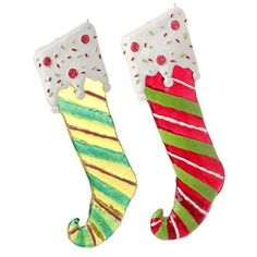 """RAZ Stocking Christmas Ornament Set of 2  2 Assorted styles Set includes one of each style Made of Polywater (hard plastic like) Measures 13"""" X 5""""  Whimsical stocking shaped ornaments"""