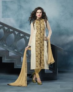 Yellow And White Embroidered Straight Suit #fashion #womenapparels #partywear #zoprix #straightsuits #salwarkameez