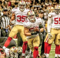 Two upcoming player to watch.  #35, Eric Reid (safety ) & Chris Borland #50, taking over for my man,  Patrick Willis #52
