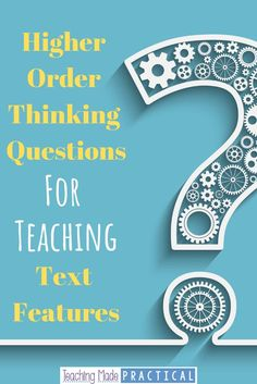 Encourage higher order thinking with your upper elementary students by using these text features questions based on Bloom's Taxonomy. Teaching Reading, Teaching Career, Teaching Ideas, Teaching Resources, Reading Activities, Guided Reading, Reading Centers, Reading Workshop, Literacy Centers