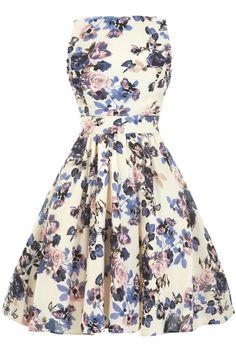 Vintage Lavender Floral Tea Dress : Lady Vintage