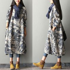 Women Linen Dress Loose Fittin