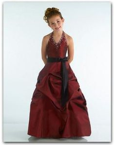 Hot Sell A-Line/Princess Halter Floor-Length Taffeta Flower Girl Dress with Sash Beading (010002140)