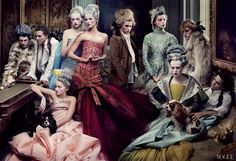"""Christian Dior Haute Couture by John Galliano Lily Cole, Gemma Ward, Gisele Bundchen, Daria Werbowy and Karen Elson """"French Twists"""" by Annie Leibovitz US Vogue, May 2004 Christian Dior Couture, Dior Haute Couture, Christian Lacroix, Lily Cole, Karen Elson, Annie Leibovitz, Vogue Editorial, Editorial Fashion, Gemma Ward"""