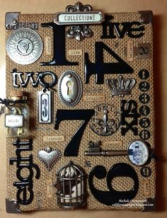 super cool wall hanging-Tim Holtz hardware Altered Canvas, Altered Art, Altered Books, Burlap Crafts, Paper Crafts, Burlap Projects, Clipboard Art, Timmy Time, Steampunk Crafts
