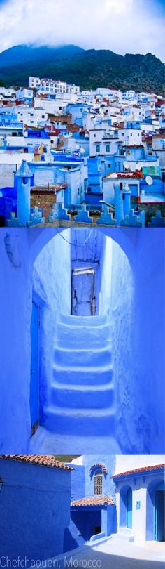~Morocco's blue town situated on a backdrop of the Rif Mountains. blue gem called Chefchaouen in Morocco, has the most romantic little cobblestoned streets full of authentic Moroccan cafés | House of Beccaria