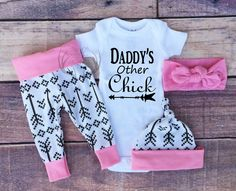 Baby Girl Coming home Outfit, Daddy's Other Chick, Arrows Outfit, Arrows,Light Pink with Black Arrows,baby girl,leggings,hat,Headband by TheSouthernCloset101 on Etsy https://www.etsy.com/listing/387027596/baby-girl-coming-home-outfit-daddys