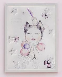 'Phoenix' fine art print One Sonny Day. Australian kids and children's art. Soft pink flower crown, lilac floral headdress, delicate antique lace embossing, pink purple butterflies, bubbles, feather, owl, feather headdress, praying hands. Perfect for wall art, little girls bedroom deco, children kids gifts, christening, baby shower, christmas present.