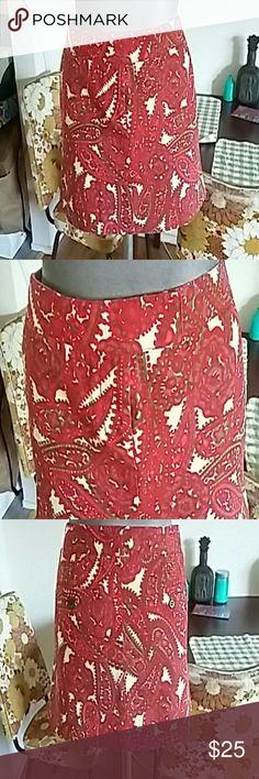 J. Crew red mini skirt Patterned mini skirt. 4 pockets. Front zipper. J. Crew Skirts Mini