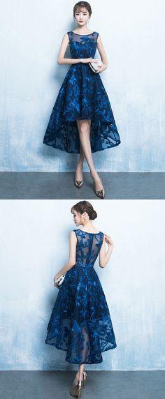blue high low prom dress, short evening dress, party dress, cheap dress