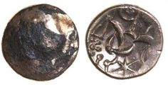 Corieltauvi, South Ferriby. II Type. c.45-10 BC. AV plated stater.  South Ferriby. II Type. c.45-10 BC. AV plated stater.  19mm. 4.63g. Blank./ Disjointed horse l, triangular head, anchor hidden face above, six-pointed star below, II in front.  ABC 1752 variant, VA 811-22 var., BMC 3150 var., S 390 var. VF/Gd VF, some of plating missing on obv, lovely horse, unusual extra letters