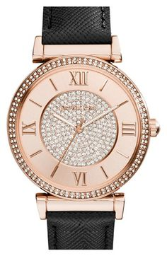 MICHAEL Michael Kors Michael Kors 'Catlin' Crystal Accent Leather Strap Watch, 38mm available at #Nordstrom
