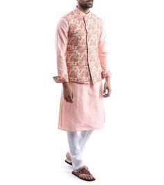 Beige & Peach Mix Silk Nehru Jacket With Kurta Pyjama Engagement Dress For Groom, Wedding Outfits For Groom, Wedding Dress Men, Wedding Attire, Mens Sherwani, Kurta Men, Indian Men Fashion, Mens Fashion, Modi Jacket