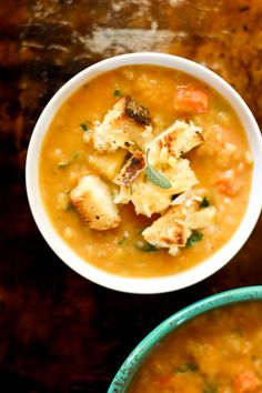 Chunky vegetable soup with gruyère + herb croutons | The Clever Carrot