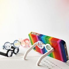 Plastic Foldable Glasses Stand for iPhone iPod. Adorable!
