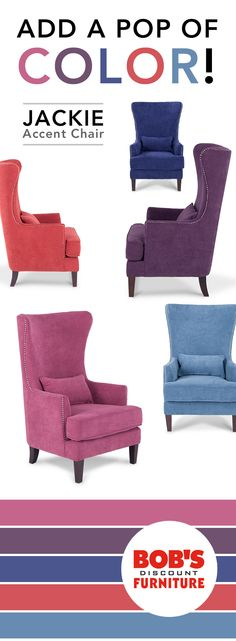 My Jackie Accent Chair is all about quality, choice & value! Add a pop of color to your living room or bedroom with this trendy accent #chair at a fraction of price! Only $299.99 each, only at mybobs.com!
