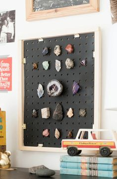 DIY Rock collection display | black pegboard organization. Frame your rock and gemstone collection.