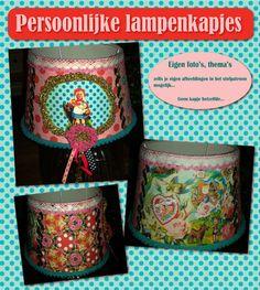 PERSOONLIJKE LAMPENKAP (met unieke stof en eigen foto en thema naar wens)  Leuke persoonlijke lampenkappen met bijvoorbeeld de foto van uw kind, favoriete thema's, eigen teksten, sprookjes, pat...