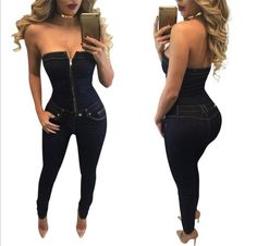 2016 new Women Sexy Deep shoulder zipper Skinny
