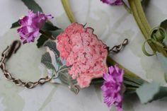 Pink Hydrangea Image Cuff Bracelet by LivyLynnVintique on Etsy