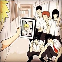Haha, that's something Naruto would totally do! It's a picture of him and Sasuke