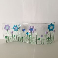 Floral Glass S Curved Plaque, Floral Candle Display,Fused Glass,Kilnformed Glass,Home Decor, Gift for her, Birthday Gift, Mothers Day Gift by WarmGlassFusion on Etsy