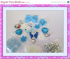 ON SALE DIY 3d alloy rhinestone blue and silver bling butterfly kawaii decoden cabochon cell phone deco kit, $7.49