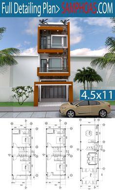 Narrow Home Lot Design - SamPhoas Plansuche - home design with layout plan - Bungalow House Design, House Front Design, Small House Design, Dream Home Design, Modern House Design, Narrow House Designs, Narrow House Plans, Small House Plans, House Layout Plans