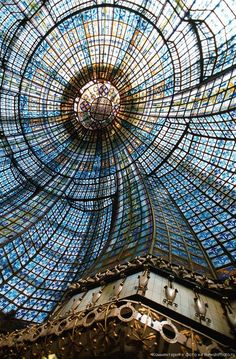 Paris, France... Interior view of the Magasins du Printemps department store...  Over 3000 pieces of stained glass!  Gorgeous!!!