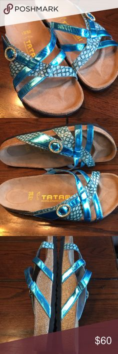 NWOB Tatami 38 metallic trendy Birkenstocks These metallic Faux  snakeskin Birkenstocks are brand new without the box in excellent condition from a non-smoking household size 38 Birkenstock. Birkenstock Shoes Sandals