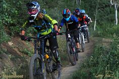 Women take over the Steamboat Bike Park on Friday nights for Gravity Girls, a downhill mountain biking clinic. Steamboat Springs, Colorado